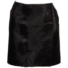 Dolce & Gabbana Black Pony Hair Leather Mini Skirt