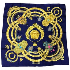 Hermes Vintage Carre large silk scarf golden and colorful jewelry print