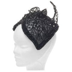 "Black Rare Amazing Italian Couture ""Cat"" Fascinator Hat, 1950s"