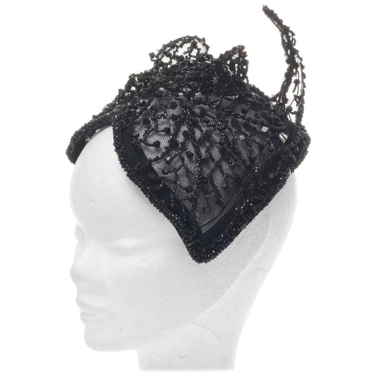 """Black Rare Amazing Italian Couture """"Cat"""" Fascinator Hat, 1950s"""