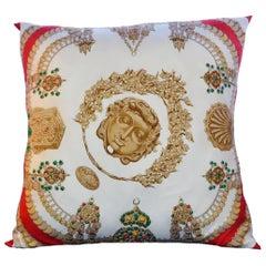 "Large Vintage Hermès Scarf Pillow  J.A. Badie ""KOSMIMA"" iwj4473-1"