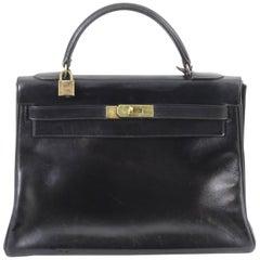 Vintage Hemes Kelly 32 Bag in Black Box Leather