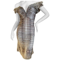 Roberto Cavalli Vintage Snakeskin Pattern Off the Shoulder Cocktail Dress