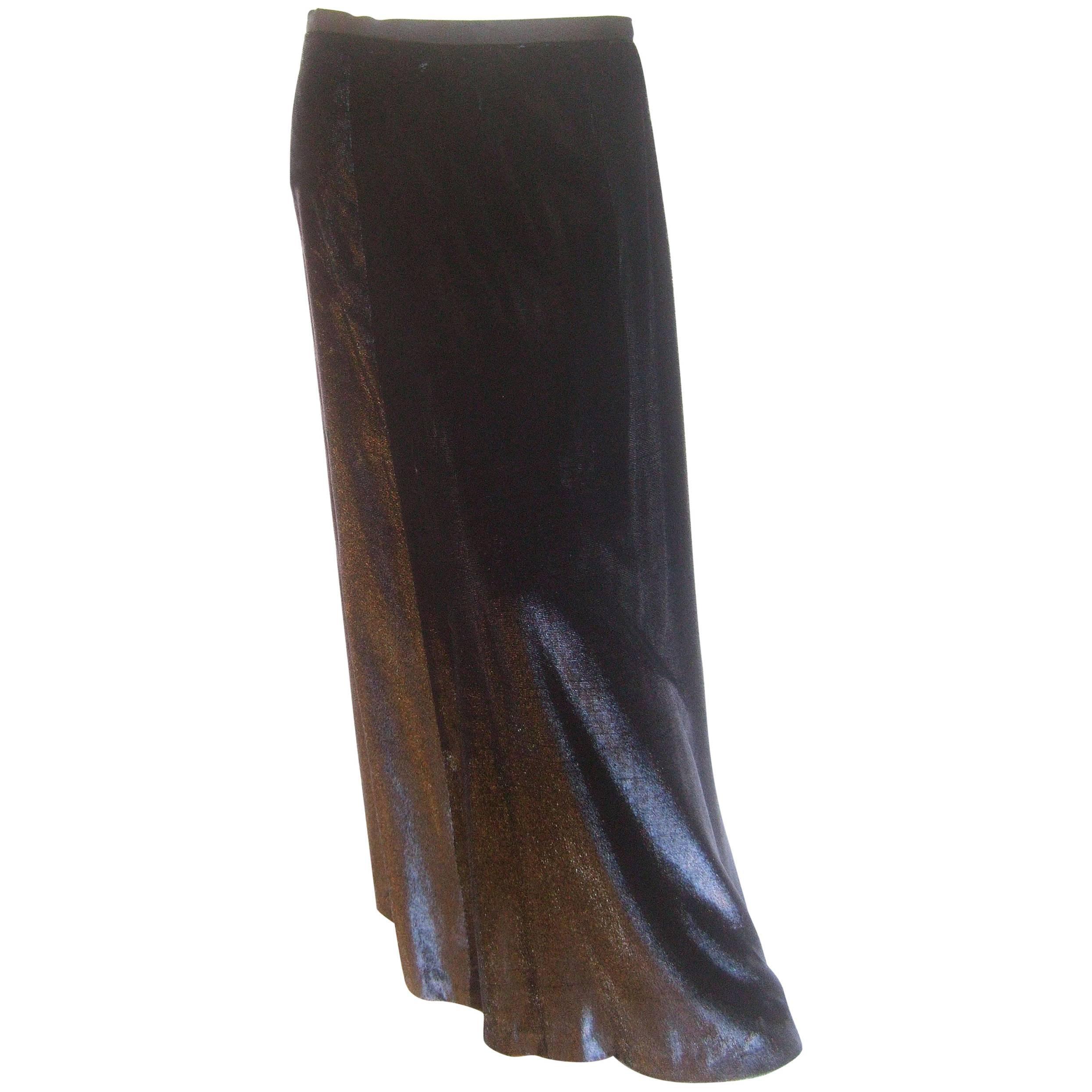 Black Long Silk Velvet Maxi Skirt from Bergdorf Goodman by Eric Gaskins