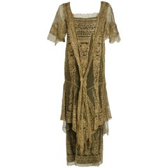 1920's Oppenheim Collins Couture Metallic-Gold Lace Tiered Flutter Evening Dress