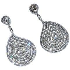 Sparkling Dangling Silver Evening Earrings