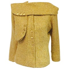 Cherished Chanel Wool and Silk Jacket Cream Fabric w/woven Gold Ribbons