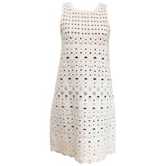 Coveted Chanel White with Navy Blue Lining Sleeveless Knit Dress