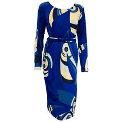 Exotic Emilio Pucci Blue Tone Abstract Print Long Sleeve Dress w/Bateau Neckline