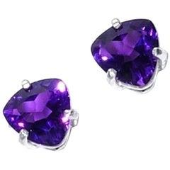 Bright Purple Amethyst Trillion Stud Earrings