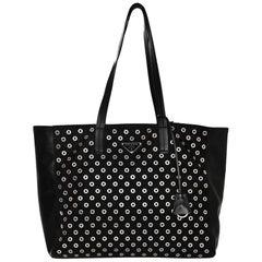 Prada Black Tessuto & Leather Grommet Tote Bag