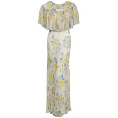 1930's Ethereal Floral Garden Print Silk Chiffon Bias Cut Pleated Capelet Gown