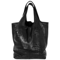 Bottega Veneta Black Leather & Intrecciato Woven Tote Bag