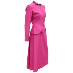 1950's Jonathan Logan Magenta Dress Suit with Sequin Collar