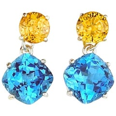 3.58 Carats Yellow Zircon and 6.10 Carats Blue Topaz Stud Silver Earrings