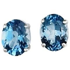 4.52 Carat Blue Topaz Sterling Silver Stud Earrings