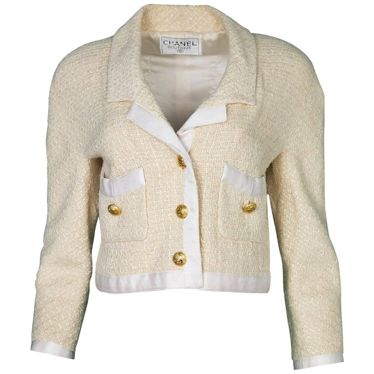 Chanel Vintage Cream Boucle and Satin Cropped Jacket For ...