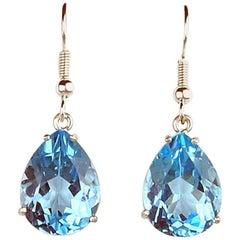 20 Carats of Topaz Sterling Silver Dangling Hook Earrings
