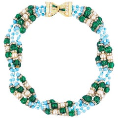60s KJL  Multi-Strand Necklace of Emerald Green, Turquoise and Rhinestones