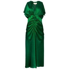 Luisa Beccaria Green Silk Ruched Dress Sz IT44