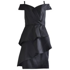 Victor Costa Black Cocktail Dress, 1980s w/Original Tag