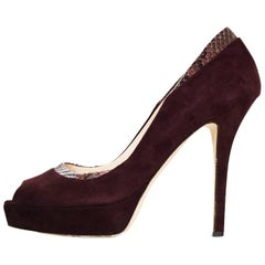 Katia Lombardo Maroon Suede & Snakeskin Pumps Sz 38 with DB
