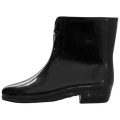 Vivienne Westwood Black Rubber Ankle Rain Boots Sz 37
