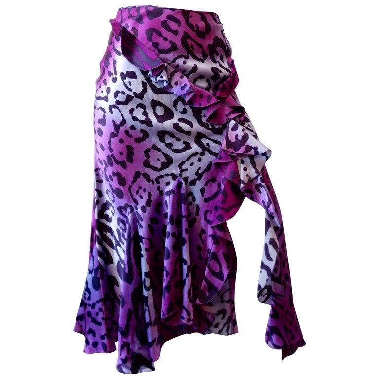 1990s Christian Dior Purple Leopard Ruffle Skirt