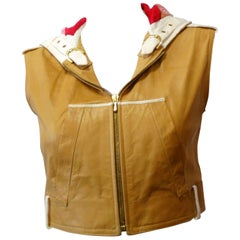 2000s Christian Dior Leather Cropped Sleeveless Hoodie