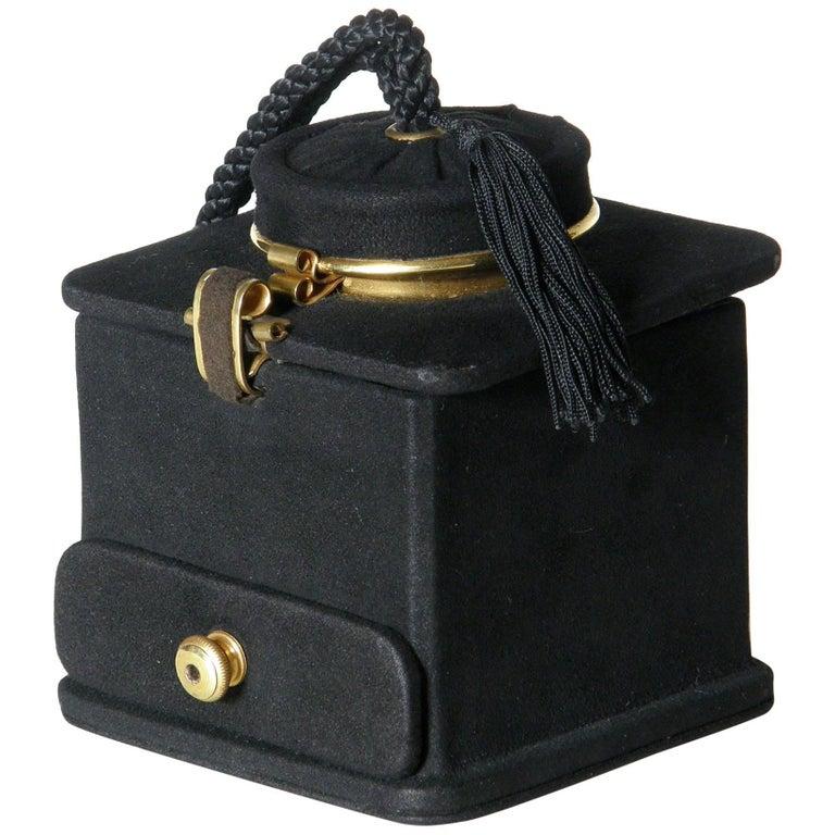 Jeanne Bernard of Paris Black Suede Coffee Grinder Shaped Handbag