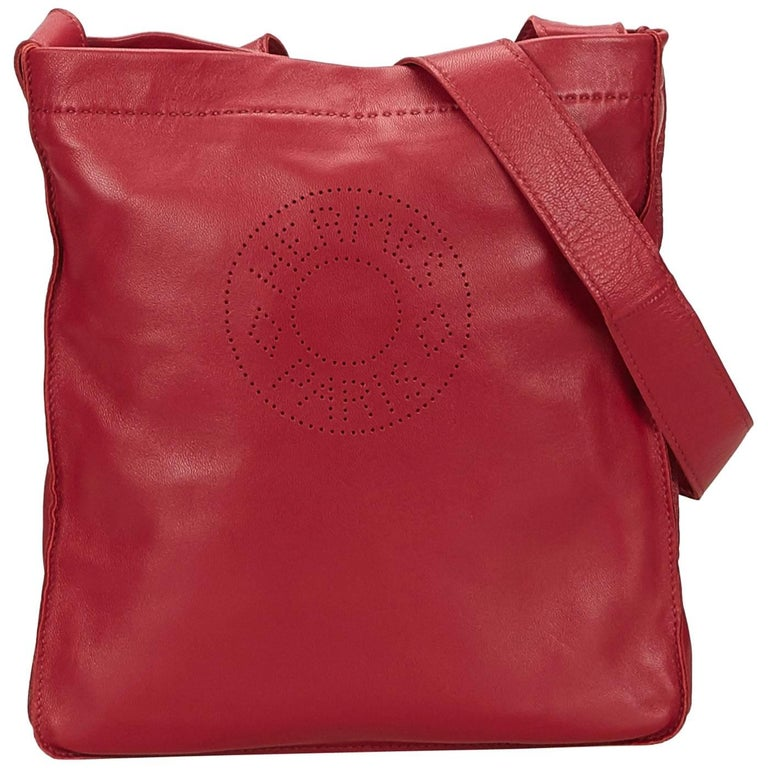 Hermes Red Clou de Selle Shoulder Bag