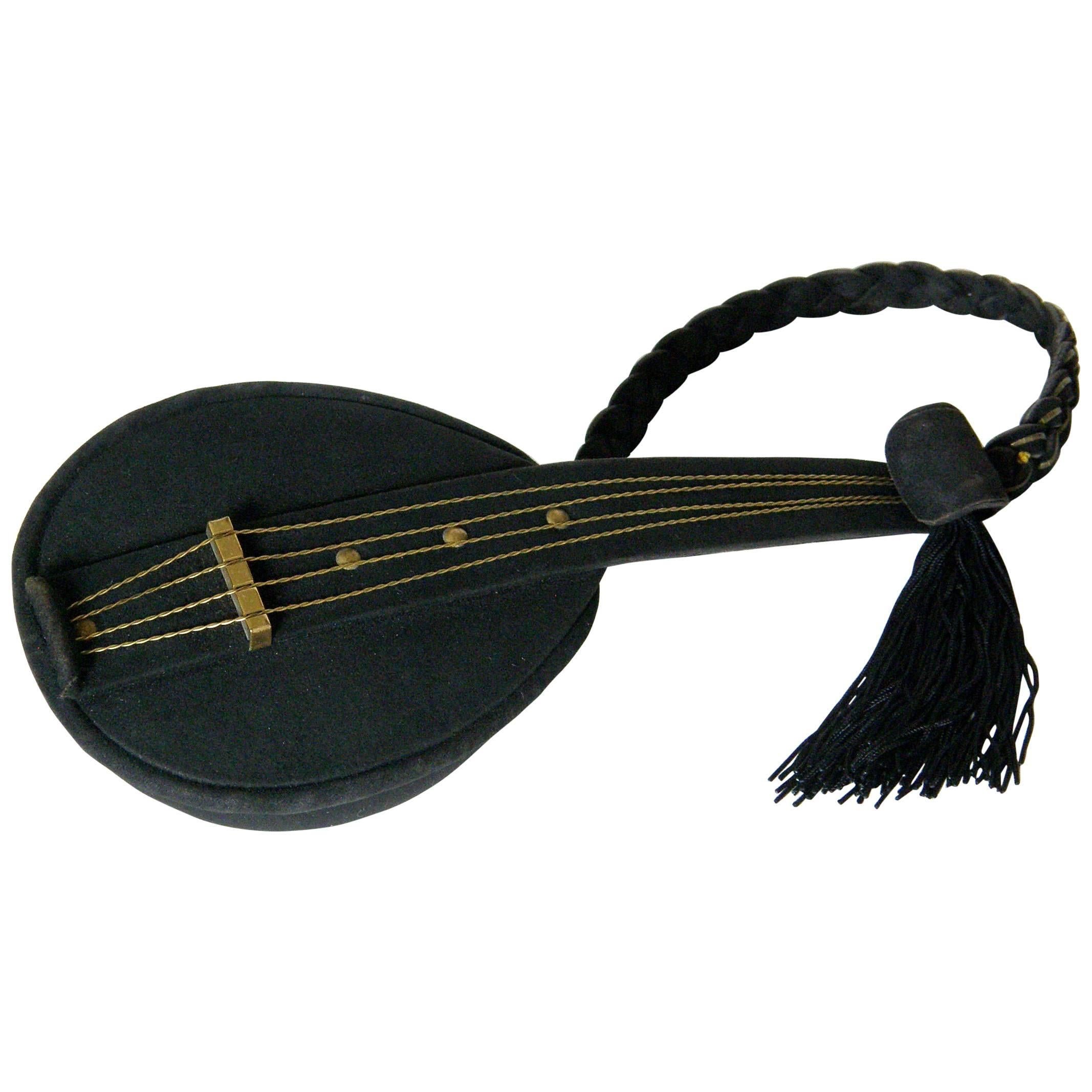 1stdibs Jeanne Bernard Of Paris Black Suede Mandolin Shaped Handbag FJw5Y