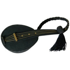 Jeanne Bernard of Paris Black Suede Mandolin Shaped Handbag
