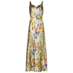 1930s Liquid Gold Satin Floral Print Bias Cut Dress