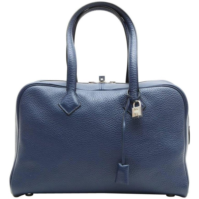 1b155231f9cf HERMES  Victoria  Bag in Blue Abyss Taurillon Clémence Leather at 1stdibs