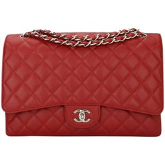 CHANEL Red Caviar Maxi Single Flap with Silver Hardware 2009
