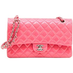 CHANEL 'Timeless' Double Flap Bag in Pink Patent Leather