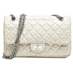 CHANEL 'Timeless' Double Flap Bag in Aged Silver Leather