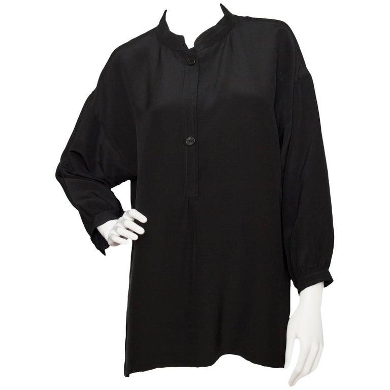 A 1980s Vintage Givenchy Haute Couture Black Blouse