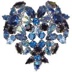 Christian Dior 1950s Swarovski Crystal Blue Heart Brooch by Henkel & Grosse