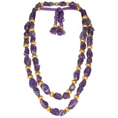 Chanel 1990s Faux Amethyst Necklace / Belt with Gold Gilt Beads & Tassel Detail