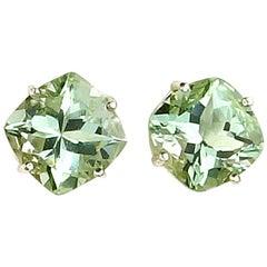 10.8 Carat Praziolite Green Amethyst Sterling Silver Stud Earrings