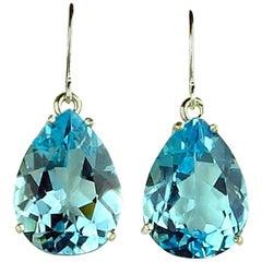 40 Carat Blue Topaz Sterling Silver Dangle Hook Earrings