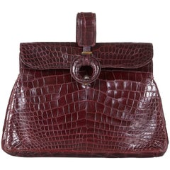 Original 1940s Large Burgundy Crocodile Skin Clutch Bag