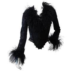 1990s Ostrich Feather Corset Bustier Top