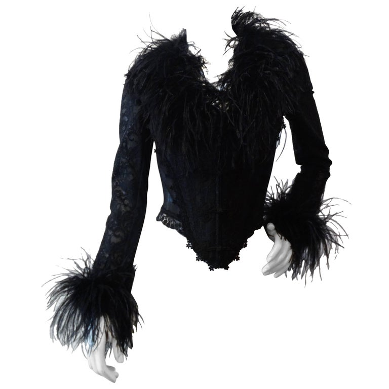 1990s Ostrich Feather Corset Bustier Top  For Sale