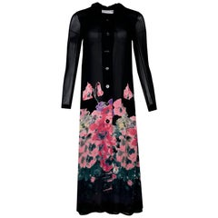 Sonia Rykiel Black & Pink Floral Sheer Duster/Dress Sz M