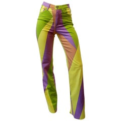1990s Versace Geometric Multicolored Print Pants