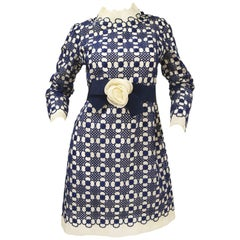 1968 Christian Dior Haute Couture Floral Lattice Lace Mod Dress Original Design