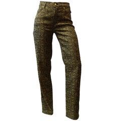 1990s Versace Glitter Monogram Pants